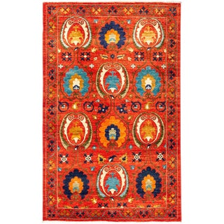 "Suzani, Hand Knotted Area Rug - 4' 3"" X 6' 6"""