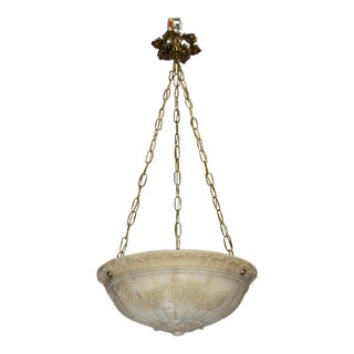 Antique chandelier, alabaster pendant