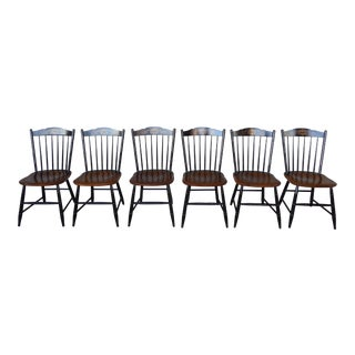 L HITCHCOCK Black / Harvest Stenciled Side Chairs Set of 6