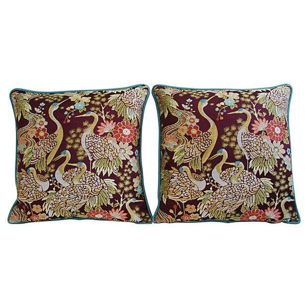 Designer Embroidered Crane Pillows - Pair - Image 7 of 8