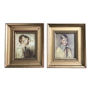 """Vintage Framed """"Portraits of Charlotte and Peter"""" Paintings - A Pair"""