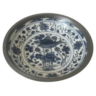 Fish & Floral Ceramic & Pewter Chinoiserie Ashtray