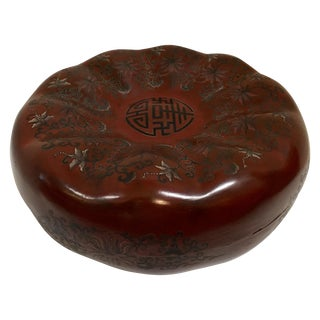 Chinese Red Lacquer Pumpkin Box