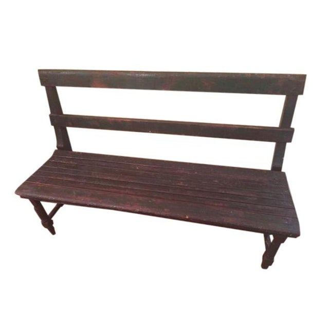 Antique Wooden Bench - Image 1 of 3