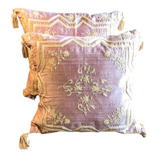Pink Silk Handwoven Embroidered Pillow Covers - A Pair