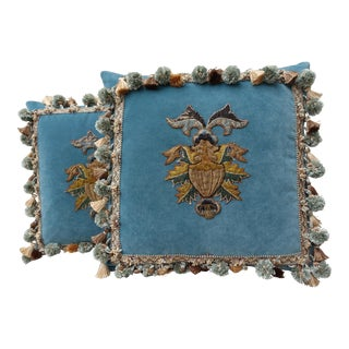 Pair of Custom Appliqued Pillows by Melissa Levinson
