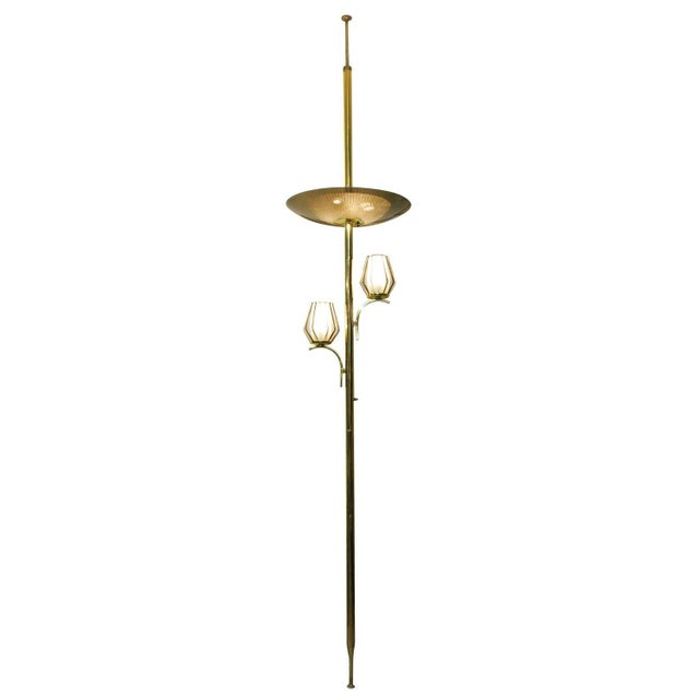 Brass Triple Light Floor To Ceiling Tension Lamp