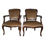Image of Mid-Century Champagne Arm Chairs - A Pair
