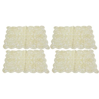 Antique Yellow Filet Lace Placemats - Set of 4