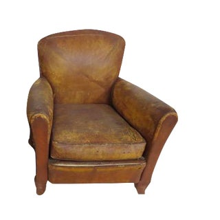 Vintage Distressed Leather Club Chairs - Pair