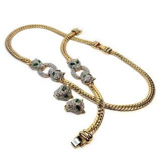 Goldtone Chain & Rhinestone Jaguar Parure