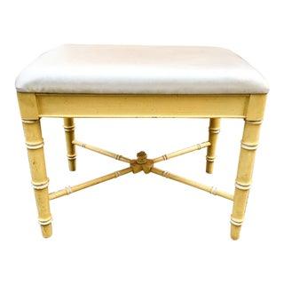 Thomasville Faux-Bamboo Yellow Ottoman