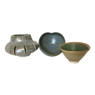 Earthy Studio Pottery Pieces- Set of 3
