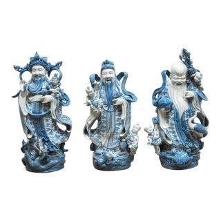 Chinese Blue and White Porcelain Wise Gods Fu, Lu, and Shou - Set of 3