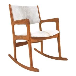 Forsyth One of a Kind Danish Benny Linden Teak Rocking Chair Restored in Brazilian Calfskin