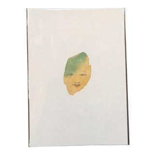 Golden Abstract Face Watercolor Painting
