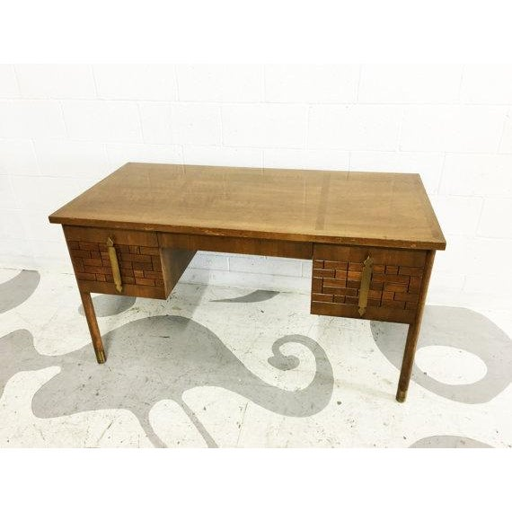 Mid-Century Modern Walnut Four Drawer Desk - Image 5 of 6