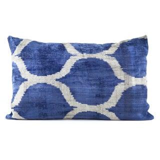 "Silk Velvet Indigo Blue Ikat Pillow - 16"" x 24"""