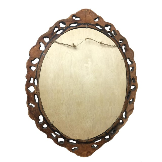1940s Rococo Hand Carved Wooden Mirror - Image 3 of 5
