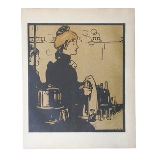 Antique Lithograph-London Types-Barmaid