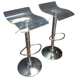 Adjustable Clear Lucite Bar Stools - A Pair