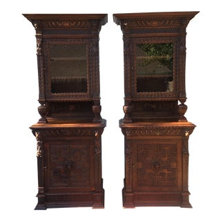 Antique Carved Bookcases - A Pair