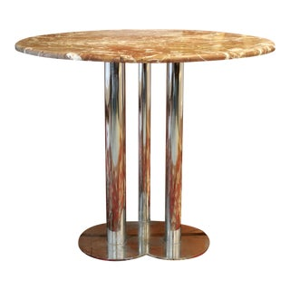 Marble & Chrome Trifoglio Dining Table by Sergio Asti