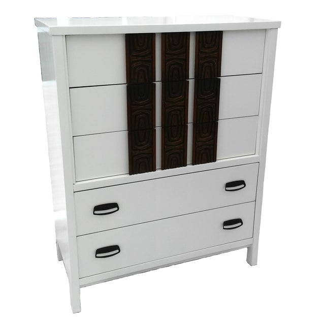 White Lacquered Mid-Century Modern Tall Dresser - Image 1 of 9