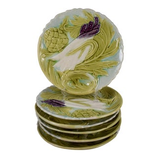 Orchies French Majolica Artichoke & Asparagus Plates - Set of 6