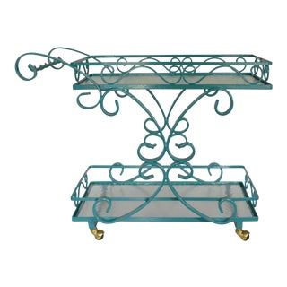 Vintage Wrought Iron & Glass Restored Teal Bar Cart