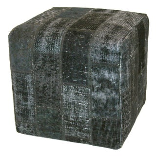Navy Vintage Turkish Patchwork Ottoman