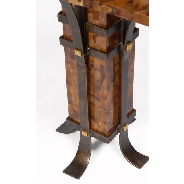 Pair of Maitland Smith Tessellated Horn and Iron Table Lamps - Image 3 of 5