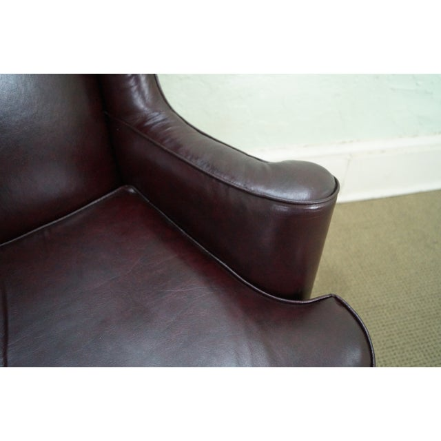 Oxblood Leather Wing Chairs - A Pair - Image 6 of 10