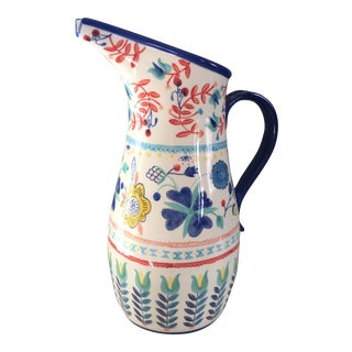 Anthropologie Hand Painted Floral Ceramic Pitcher