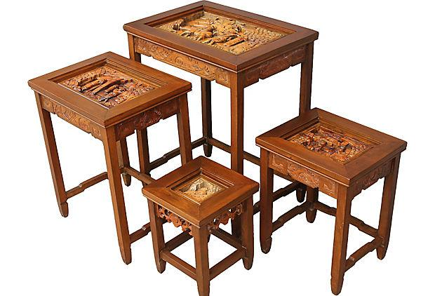 antique carved asian nesting tables set of 4 image 9 of 10