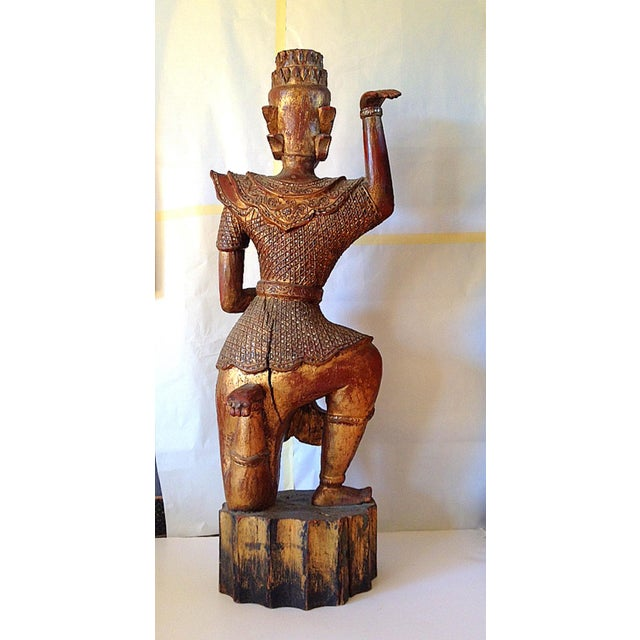 Image of Large Wooden Dancing Figure