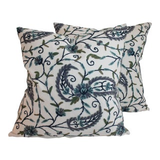 Blue & Green Floral Crewel Work Pillows - A Pair