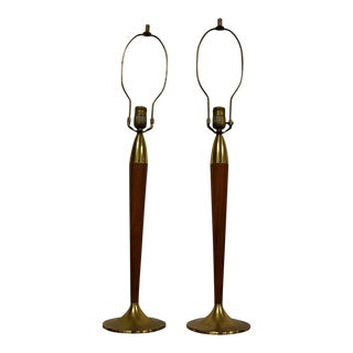 Mid-Century Brass and Walnut Table Lamps - A Pair