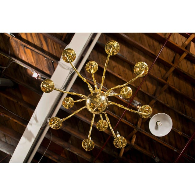 Twelve Light Brass Ball Form Chandelier | Chairish