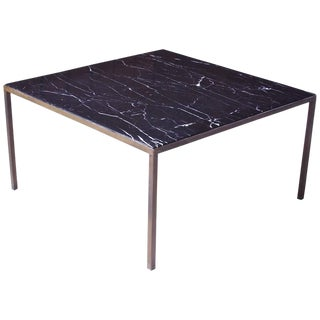 Vintage Italian Black Carrara Marble and Bronze Square Coffee Table, 1970s