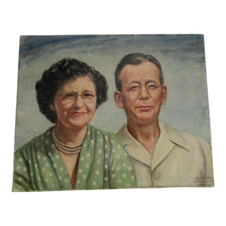 Oil Portrait of a Couple With Eyeglasses Signed