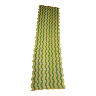 Vintage Handmade Crocheted Green/Yellow Striped Afghan Throw Blanket