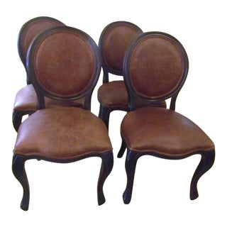 Arhaus Margot Leather and Oak Side Dining Chairs - Set of 4