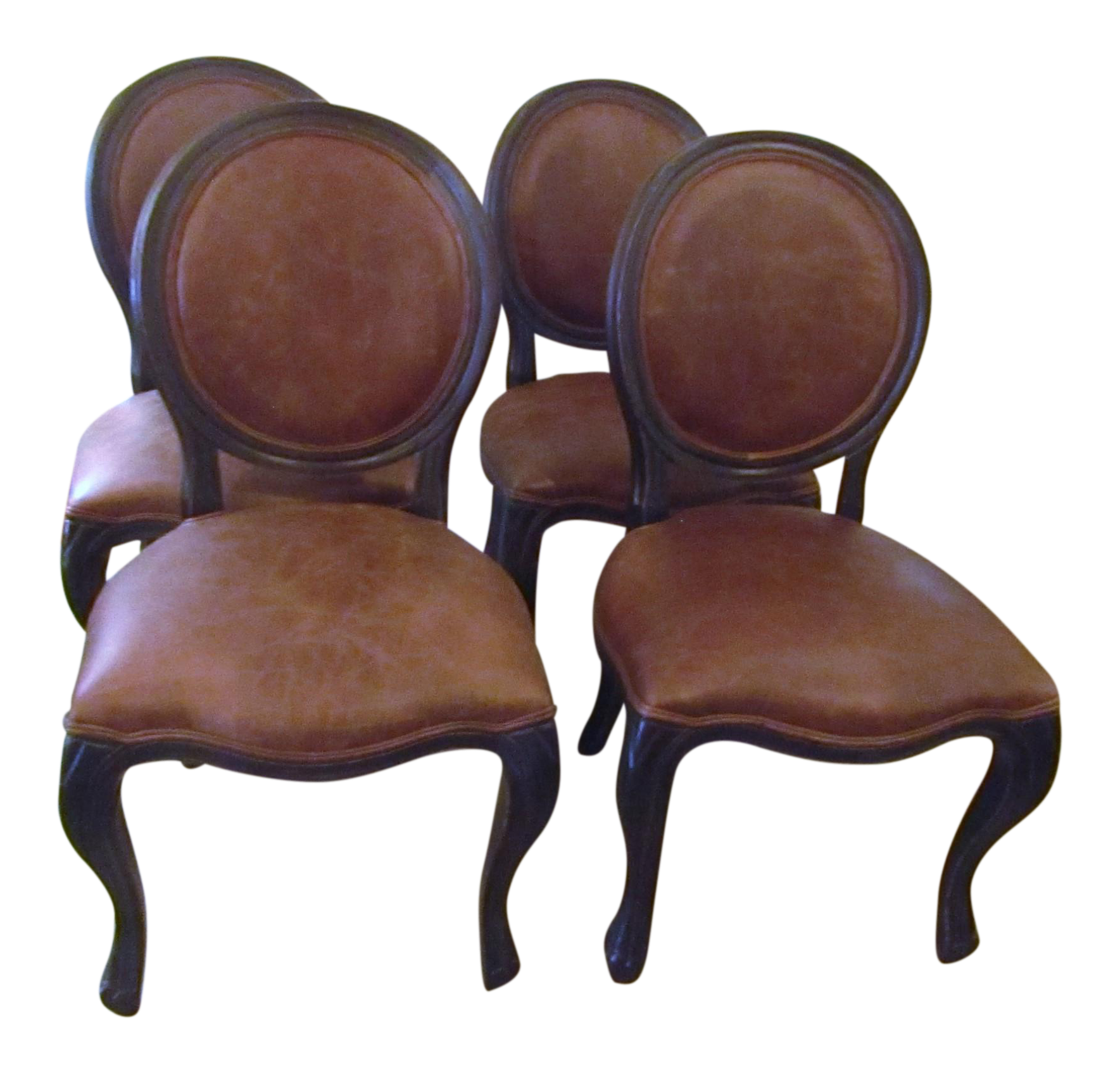 Arhaus Margot Leather And Oak Side Dining Chairs   Set Of 4