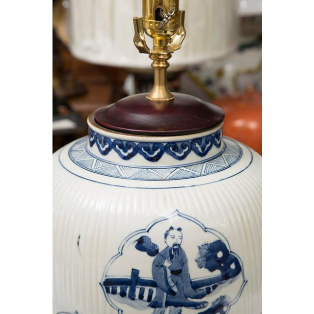 Pair of Chinese Blue and White Lamps - Image 4 of 7