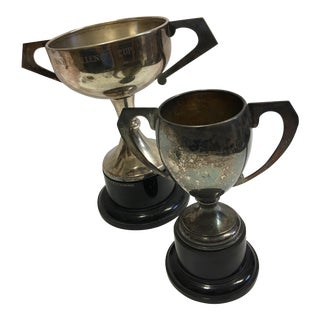 Vintage Silver Plated English Trophies - A Pair