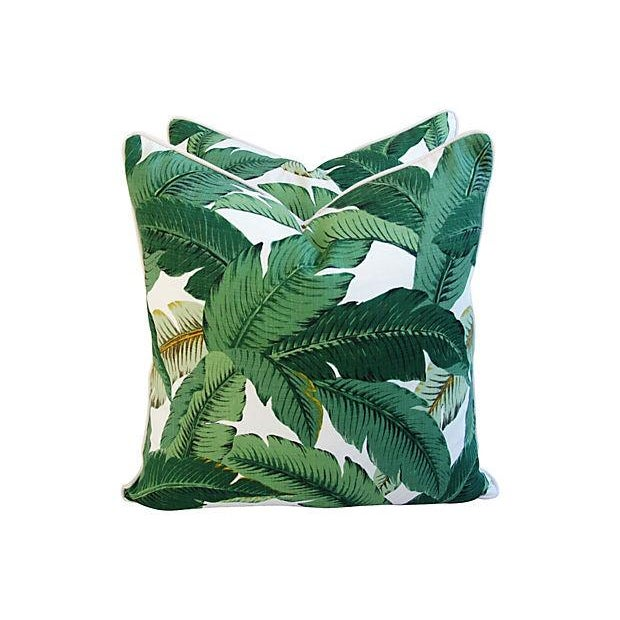 Large Tropical Iconic Banana Leaf Feather/Down Pillows - a Pair - Image 5 of 7
