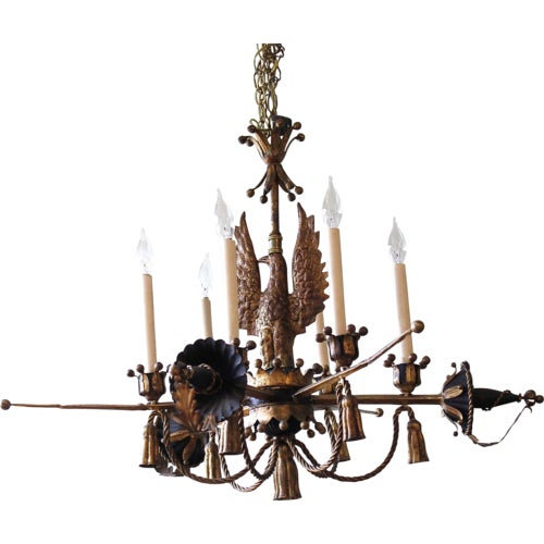 Tôle Painted and Gilt Eagle and Swords Chandelier - Image 9 of 9