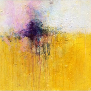 Mixed Media Acrylic Abstract Painting Violet Flame