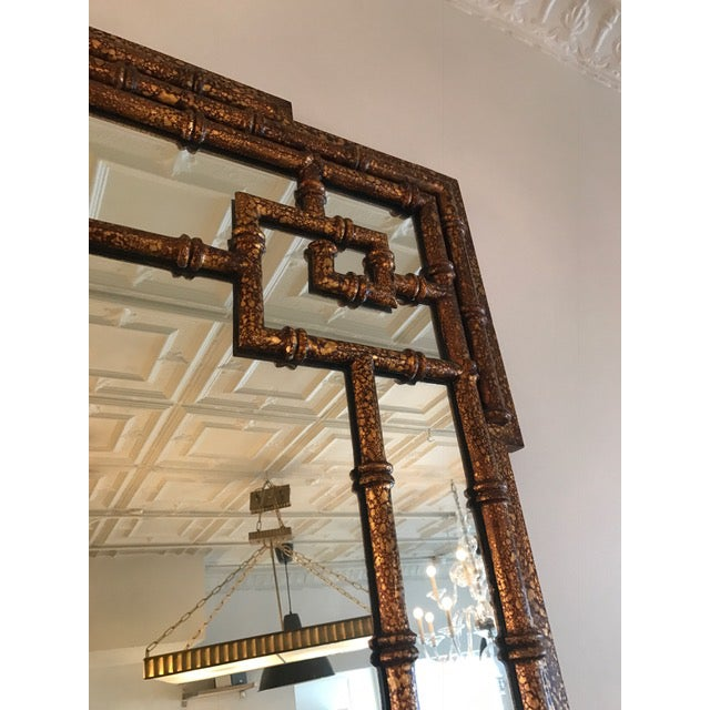 Chinoiserie Faux Tortoise Mirror - Image 4 of 5